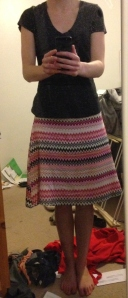 Despite the uneven (un-pictured) waistband, this skirt is really comfortable, and was a good learning project.